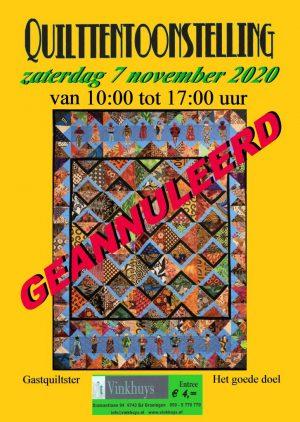 flyer 2020 Quilttentoonstelling geannuleerd